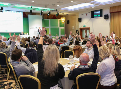 Members of the Citizens' Assembly voting