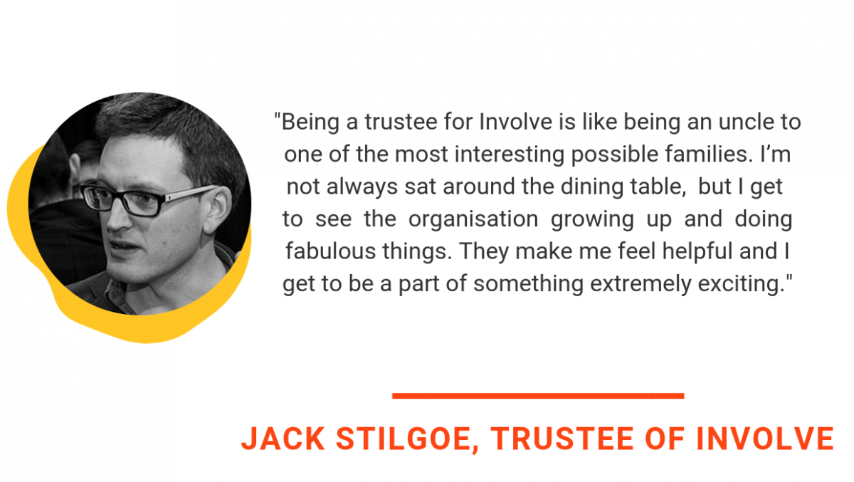 jack stilgoe quote says Being a trustee for Involve is like being an uncle to one of the most interesting possible families. I'm not always sat around the dining table, but I get to see the organisation growing up and doing fabulous things. They make me feel helpful and I get to be a part of something extremely exciting.
