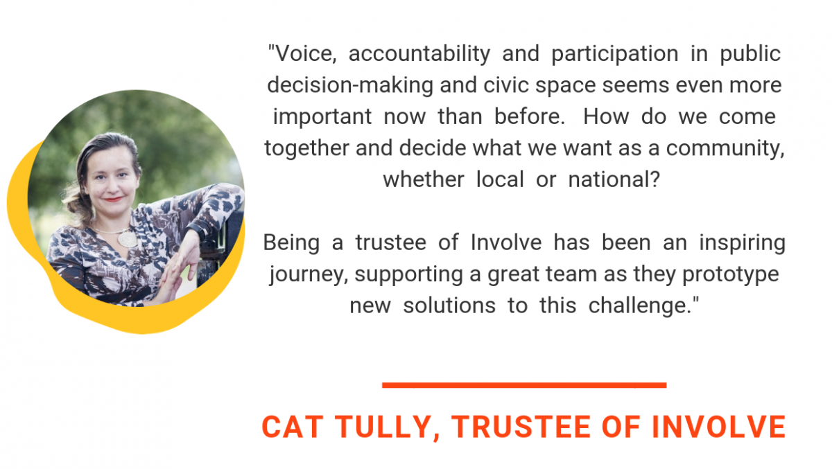 cat tully quote says Voice, accountability and participation in public decision-making and civic space seems even more important now than before.  How do we come together and decide what we want as a community, whether local or national? Being a trustee of Involve has been an inspiring journey, supporting a great team as they prototype new solutions to this challenge