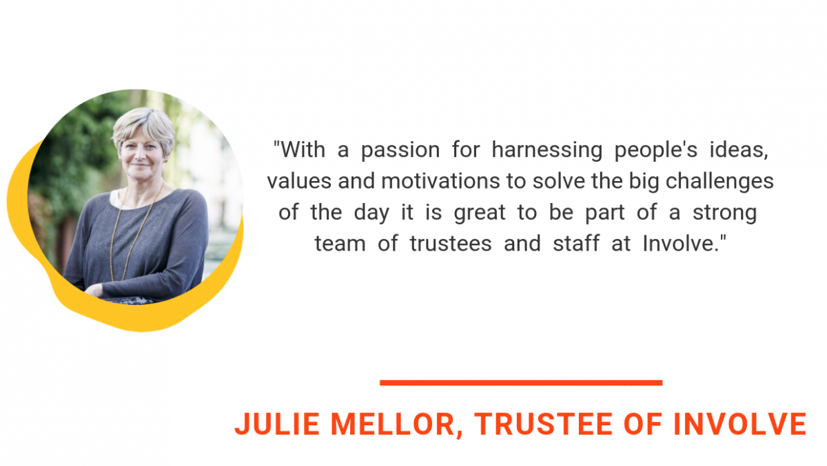 julie mellor quote says with a passion for harnessing people's ideas, values and motivations to solve the big challenges of the day it is great to be part of a strong team of trustees and staff at Involve